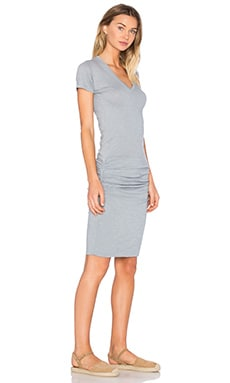 V Neck Dress in Dusty Blue