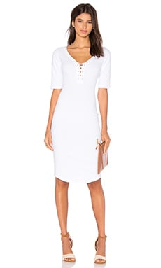 Jersey Lace Up Dress in White