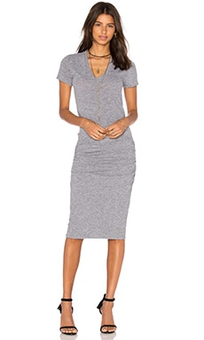 V-Neck Shirt Dress in Granite