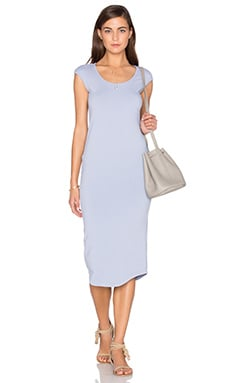 Cap Sleeve Dress in Dusty Blue