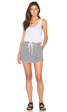 MONROW Solid & Stripe Tennis Dress in Chalk
