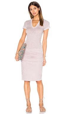 MONROW V Neck Dress in Chalk