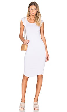 MONROW Cap Sleeve Dress in Chalk