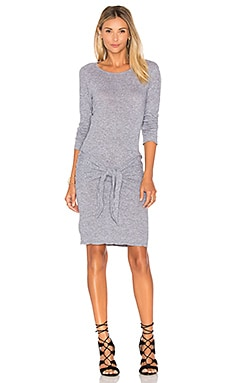 MONROW Tie Front Dress in Granite