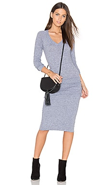 V Neck Baseball Dress in Granite