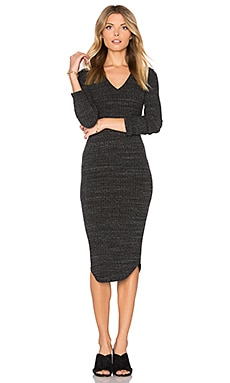 Stretch Rib V Neck Dress