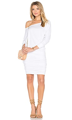 Off Shoulder Blouson Dress in White