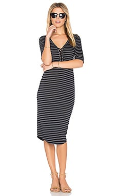 Stripe Lace Up Dress en Noir Vintage