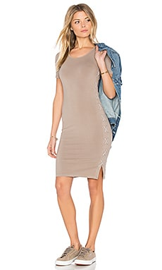 Fitted Lace Up Dress in Ash Green