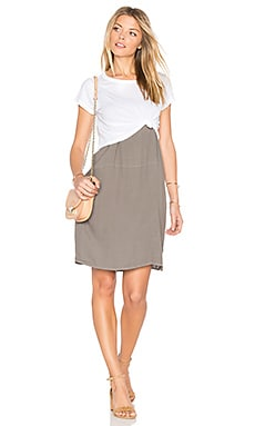 Cropped Tee With Slip Dress in Ash Green & White