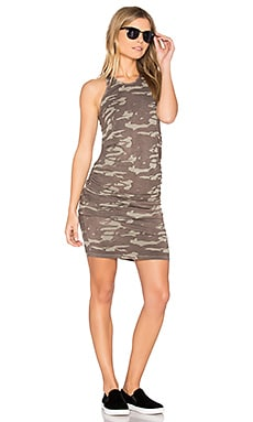 Neutral Camo Shirred Dress in Ash Green