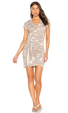 Urban Camo Short Sleeve V Dress With Tie MONROW $84