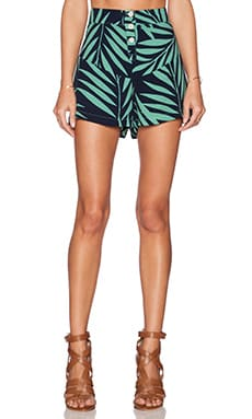 MONROW Palm Print Crepe High Waist Flare Short in Sage