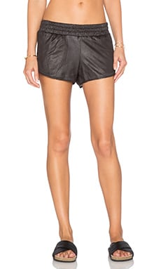 MONROW Perforated Leather Short in Black
