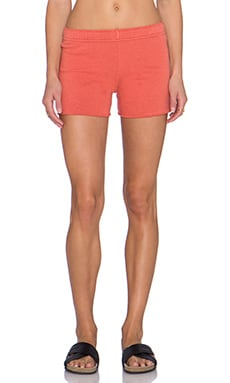 MONROW Vintage Basics Foldover Short in Blood Orange