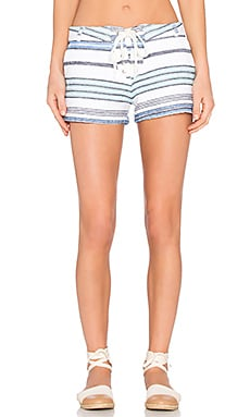 Burlap Stripe Lace Up Short en Blanc