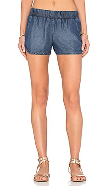 MONROW Tencel Denim Short in Denim Wash