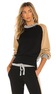 Color Block Mock Neck Sweater MONROW $162 NEW