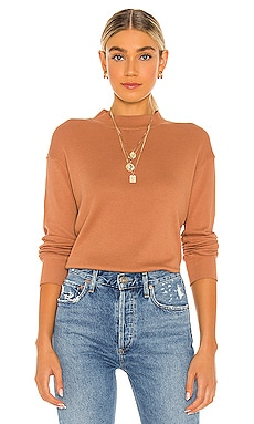 Thermal Mock Neck Seamed Sweatshirt MONROW $135 BEST SELLER