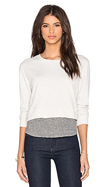 MONROW Double Layer Cropped Sweatshirt in Ash
