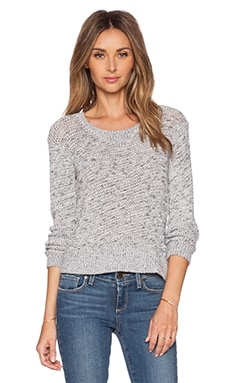 MONROW Salt & Pepper Crop Sweater in White