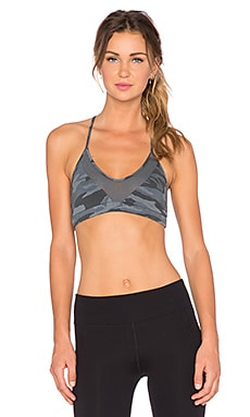 MONROW Camo Sports Bra in Gunmetal