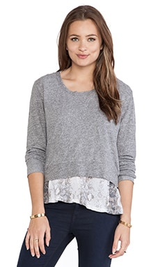 MONROW Snake Print Double Layer Jersey Sweatshirt in Granite