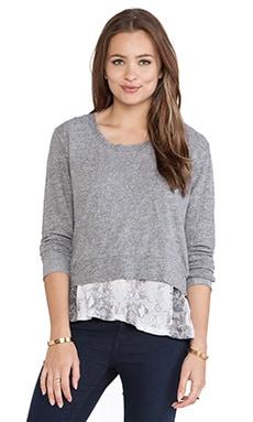 MONROW Snake Print Double Layer Jersey Sweatshirt in Granite