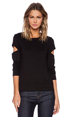 MONROW Heather Fleece Open Sleeve Sweatshirt in Black