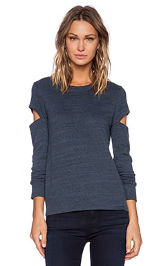 MONROW Heather Fleece Open Sleeve Sweatshirt in Blue Steel