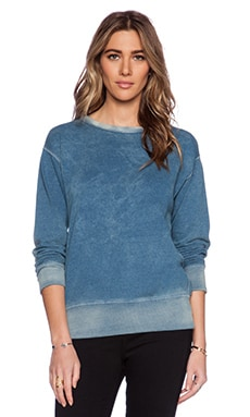 MONROW Chambray Terry Sweatshirt in Denim Wash
