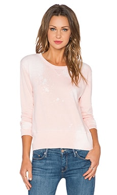 MONROW Bleach Out Crew Neck Sweatshirt in Tea Rose