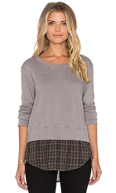MONROW French Plaid Double Layer Sweatshirt in Fawn