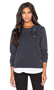 MONROW Distressed Double Layer Sweatshirt in Vintage Black