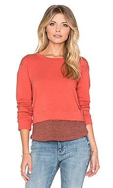 MONROW Double Layer Cropped Sweatshirt in Terracotta