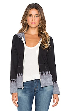 MONROW Black Out Tie Dye Zip Up Hoodie in Dark Heather