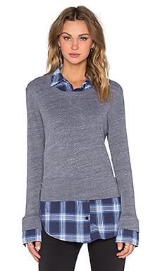 MONROW Japanese Plaid Double Layer Sweatshirt in Dark Heather