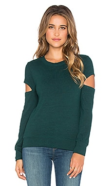 MONROW Heatehr Fleece Open Sleeve Sweatshirt in Pine