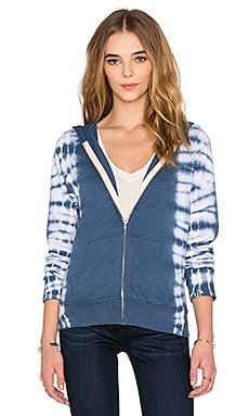 MONROW Zip Up Hoodie with Border Tie Dye in Navy