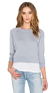 MONROW Double Layer Raglan Sweater in Dusty Blue