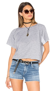 MONROW Cut Off Mini Raglan Sweatshirt in Heather