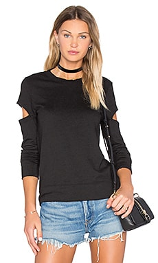 Heather Fleece Open Sleeve Sweatshirt in Black
