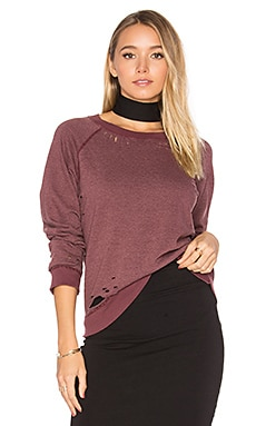 Vintage Distressed Sweatshirt in Deep Mauve