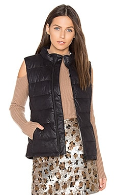 Vegan Leather Puffer Down Vest in Black