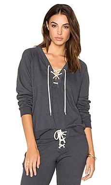 Lace Up Sweatshirt in Blue Clay