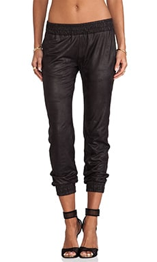 MONROW Vegan Leather Sweats in Black