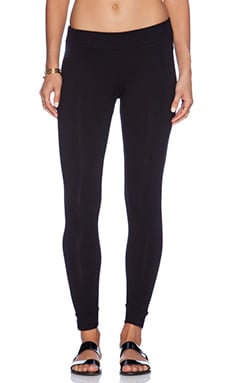 MONROW Heavy Stretch Cotton Yoga Leggings in Black