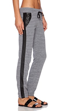 MONROW Heavy Leather Track Sweatpant in Dark Heather