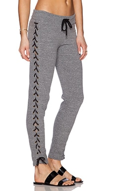 MONROW Lace Up Sweatpant in Dark Heather