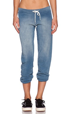 MONROW Chambray Terry Sweatpant in Denim Wash